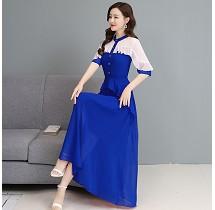 YF26947# 七分袖雪纺拼接连衣裙中长款新款女装韩版修身长裙 服装批发女装直播货源