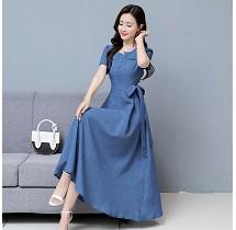 YF26949# 短袖时尚棉麻连衣裙春装新款韩版修身中长裙女 服装批发女装直播货源