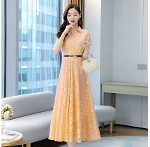 YF26957# 短袖连衣裙气质显瘦夏季雪纺提花洋气遮肚纯色女装 服装批发女装直播货源