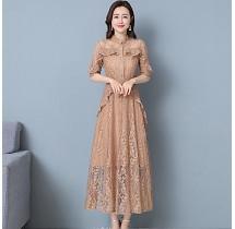 YF26963# 春夏新款连衣裙流行女气质显瘦蕾丝七分袖洋气 服装批发女装直播货源