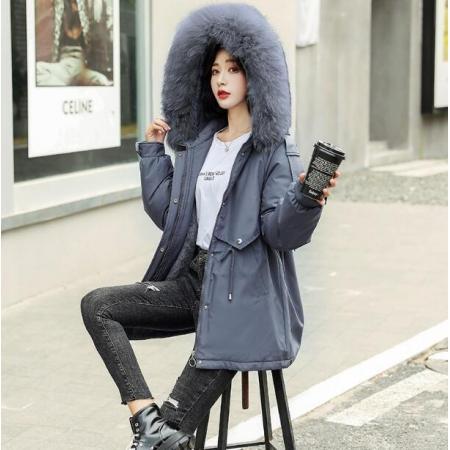 YF27844# 大码200斤棉衣女冬装韩版棉袄中长款新款加绒派克棉服收腰显瘦潮