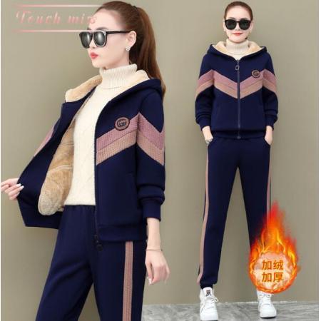 YF27846# 加厚加绒运动套装女2020秋冬季时尚宽松羊羔绒卫衣休闲服两件套潮