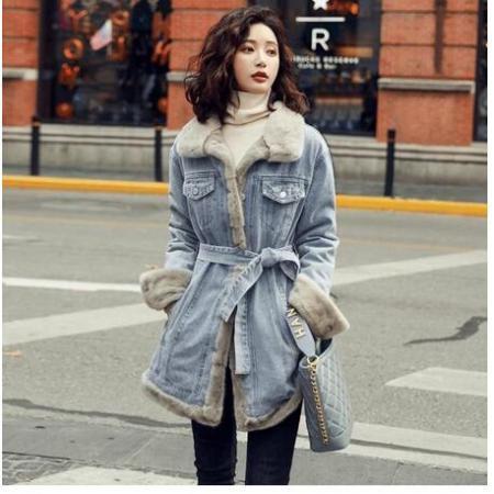 YF28572# 冬季时尚修身收腰显瘦气质淑女甜美加厚加绒牛仔棉衣棉服外套 服装批发直播货源
