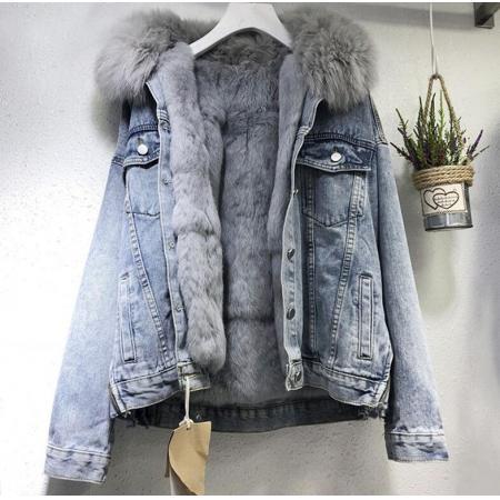 YF28573# 牛仔外套女短款新款冬季韩版仿兔毛内胆加绒加厚可拆卸棉袄潮 服装批发直播货源