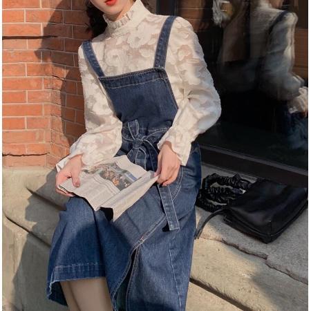 YF28957# 休闲百搭牛仔背带裙女春秋新款过膝显瘦长款连衣裙 服装批发女装直播货源