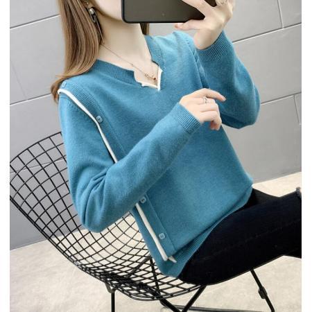 YF29025# 新款v领毛衣女宽松外穿时尚韩版百搭针织打底衫潮