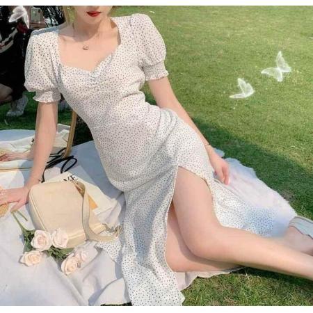 YF29315# 温柔风波点法式中长裙雪纺复古桔梗连衣裙夏季新款仙女裙子