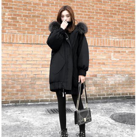 YF29562# 超大毛领棉衣冬季外套女胖mm韩版加厚工装中长款ins棉服