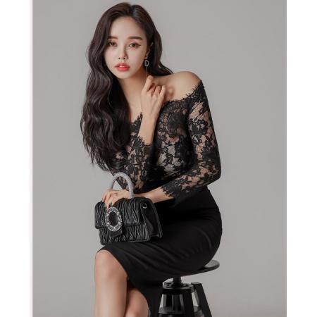 YF30024# 韩版一字肩晚礼服女气质露背开叉拼接蕾丝早春新款女装 女装批发服装货源