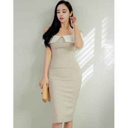 YF30025# 春款拼色裸肩一字领高腰修身包臀气质连衣裙女 女装批发服装货源