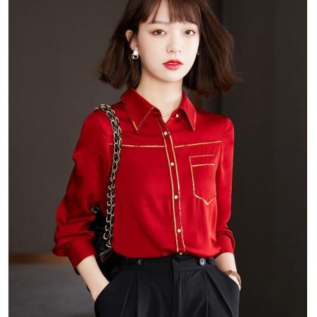 YF30197# 红色真丝衬衫女士春装新款高端长袖桑蚕丝上衣 服装批发女装直播货源