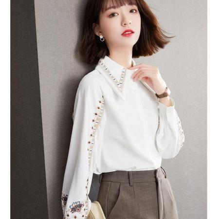 YF30198# 春款复古港味白色衬衫设计感小众雪纺长袖上衣 服装批发女装直播货源