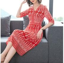 YF30215# 夏季新款红色修身收腰桑蚕丝印花真丝连衣裙女中长款 服装批发女装直播货源