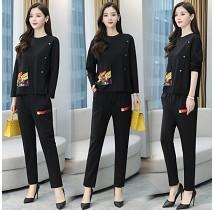 YF30473# 休闲时尚套装女长袖时髦减龄洋气百搭韩版新款春装显瘦两件套 服装批发女装货源