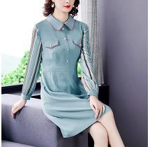 YF30974# 蓝色条纹拼接连衣裙女收腰长袖春季新款中长款A字裙 服装批发女装直播货源
