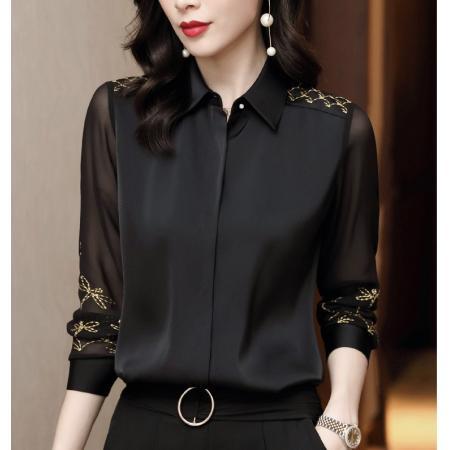 YF30989# 雪纺高端黑色长袖职业衬衫女大牌气质新款洋气上衣秋款衬衣