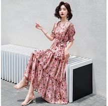 YF32857# 连衣裙轻熟风夏季新款韩版修身可盐可甜中长款雪纺裙子 服装批发女装直播货源