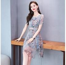 YF32858# 法式复古雪纺连衣裙女短袖新款夏季收腰显瘦气质裙子 服装批发女装直播货源