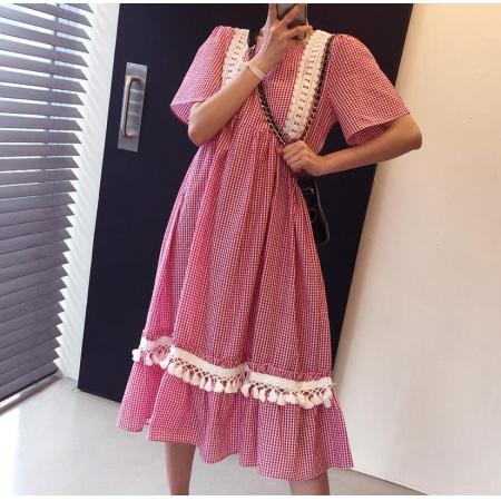 YF32903# Korea蕾丝花边拼接泡泡格子裙 服装批发女装直播货源