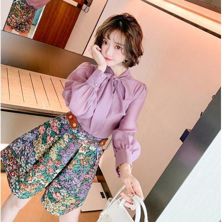 YF33065# 蝴蝶结飘带衬衫+复古提花高腰阔腿短裤套装女装春季新款