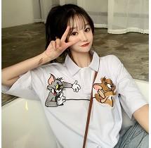 YF33943# 猫和老鼠polo衫短袖t恤女宽松ins原宿bf风上衣 服装批发女装直播货源