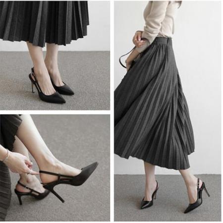 X-25006# 凉鞋女中跟包头细跟尖头职业黑色工作鞋浅口高跟鞋