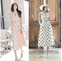 YF34593# 新款韩版时尚气质优雅淑女度假款女装波点连衣裙 服装批发女装直播货源