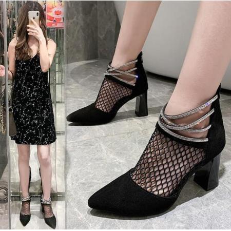 X-25096# 网纱凉靴女夏季新款韩版尖头高跟鞋水钻带妈妈鞋粗跟罗马凉鞋