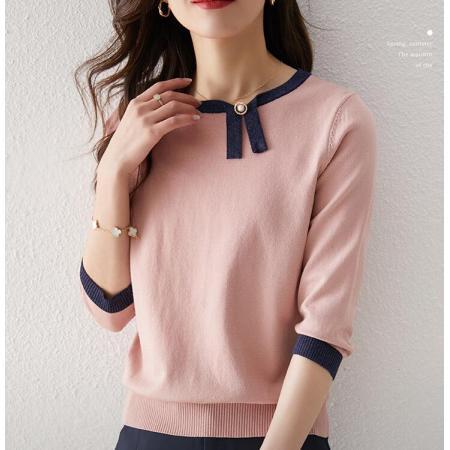 YF35313# 春夏T恤新款撞色银葱设计感不对称小众针织衫七分袖套头女 服装批发女装直播货源