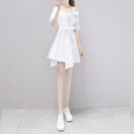 YF35614# 一字肩衬衫裙吊带连衣裙女夏气质小个子2020夏季新款女装仙女裙子