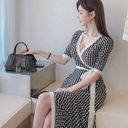 YF36441# 夏装新款韩版长裙气质V领修身系带收腰时尚裹身裙连衣裙 服装批发女装直播货源