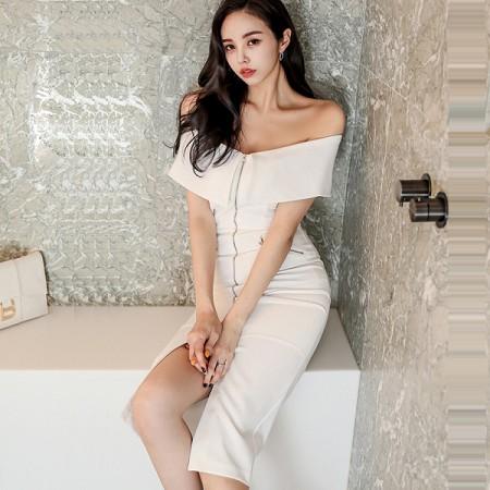 YF36445# 夏装新款韩版修身性感一字领中长款拉链开叉包臀连衣裙 服装批发女装直播货源