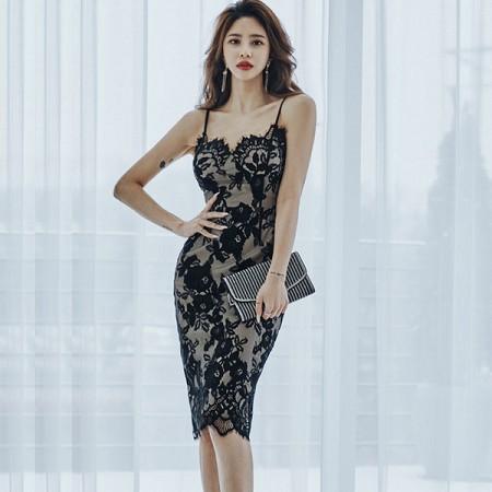 YF36450# 夏装新款韩版气质修身吊带裙中长款蕾丝包臀时尚连衣裙 服装批发女装直播货源