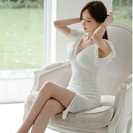 YF36459# 新款韩版修身气质V领荷叶袖包臀开叉蕾丝打底裙连衣裙女 服装批发女装直播货源
