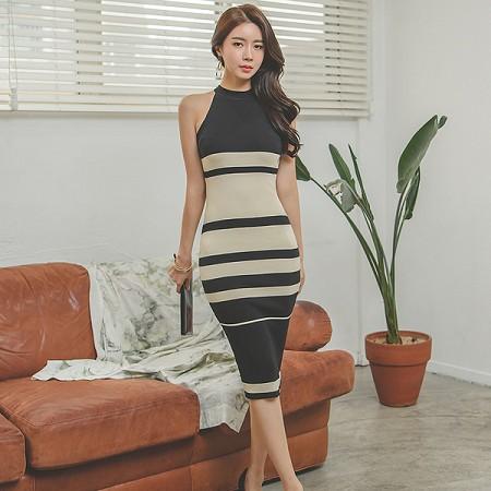 YF36463# 韩版夏装新款拼接撞色无袖圆领针织连衣裙女包臀中裙 服装批发女装直播货源