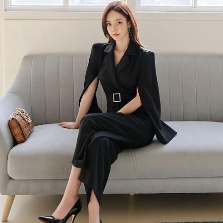 YF37024# 春装新款韩版气质修身西装领收腰显瘦职业长裤连体裤女 服装批发女装直播货源