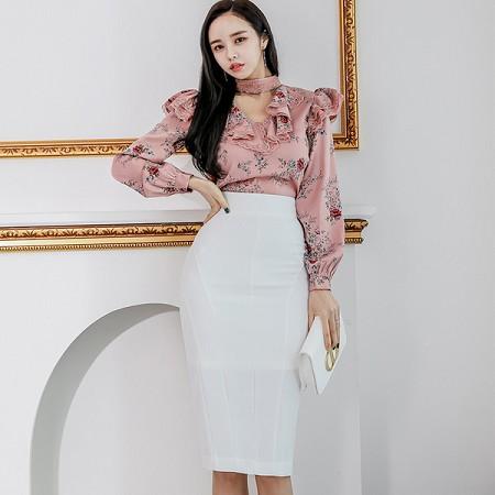 YF37028# 新款两件套春装韩版修身印花衬衫上衣时尚包臀裙套装女 服装批发女装直播货源