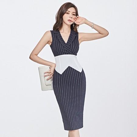 YF37031# 新款韩版气质西装翻领撞色拼接收腰系带包臀连衣裙 服装批发女装直播货源