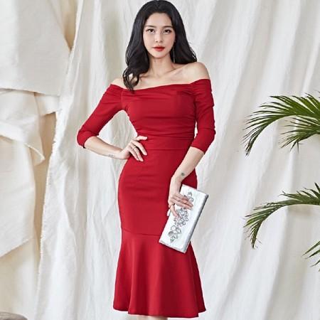 YF37035# 春季新款韩版气质一字领露肩修身显瘦包臀鱼尾连衣裙 服装批发女装直播货源