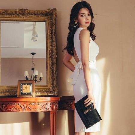 YF37038# 夏季新款韩版气质小立领镂空系带露背修身包臀连衣裙 服装批发女装直播货源