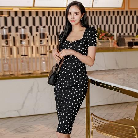 YF37040# 夏季新款韩版气质方领黑白波点单排扣修身包臀连衣裙 服装批发女装直播货源