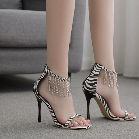 X-25148# 35-42码欧美新款性感流苏水钻细高跟一字带凉鞋 女鞋批发鞋子货源