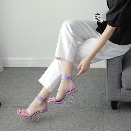 X-25154# 35-42码欧美新款透明拼色电镀跟高跟套趾凉鞋 女鞋批发鞋子货源