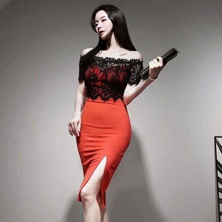 YF37497# 韩版夏装新款性感蕾丝拼接撞色一字领连衣裙女包臀中裙 服装批发女装直播货源