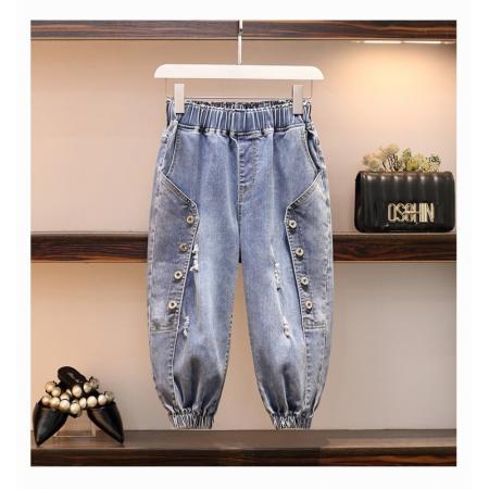 YF37521# 七分裤女牛仔裤夏薄款高腰松紧腰大码胖mm弹力百搭显瘦垮裤2021潮