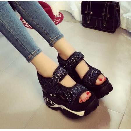 X-25202# 亮片韩版防滑厚底坡跟内增高凉鞋女防水台高跟松糕鞋夏季新款