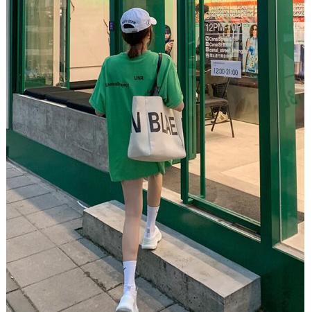 YF37720# 绿色t恤女夏季中长款印花字母糖果色韩版下衣失踪体恤上衣 服装批发女装直播货源