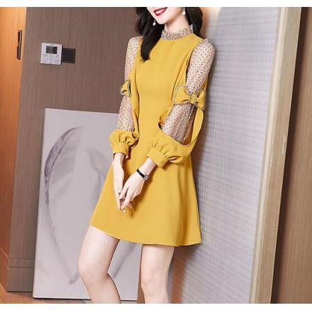 YF37741# 春装连衣裙新款法式设计感轻奢名媛网纱拼接气质显瘦连衣裙女