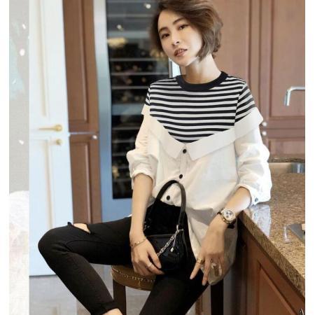 YF37964# 假两件条纹白色衬衫女士洋气宽松设计感小众衬衣春新款欧洲站 服装批发女装直播货源