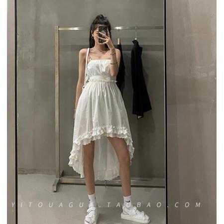 YF37971# 链条吊带连衣裙女夏a字高腰一字领中长款气质设计感裙子 服装批发女装直播货源